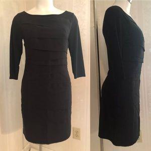 WHBM Black MJ Tiered 3/4 Sleeve Shift Dress